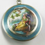 White Metal And Enamel Powder Compact Pendant And Chain